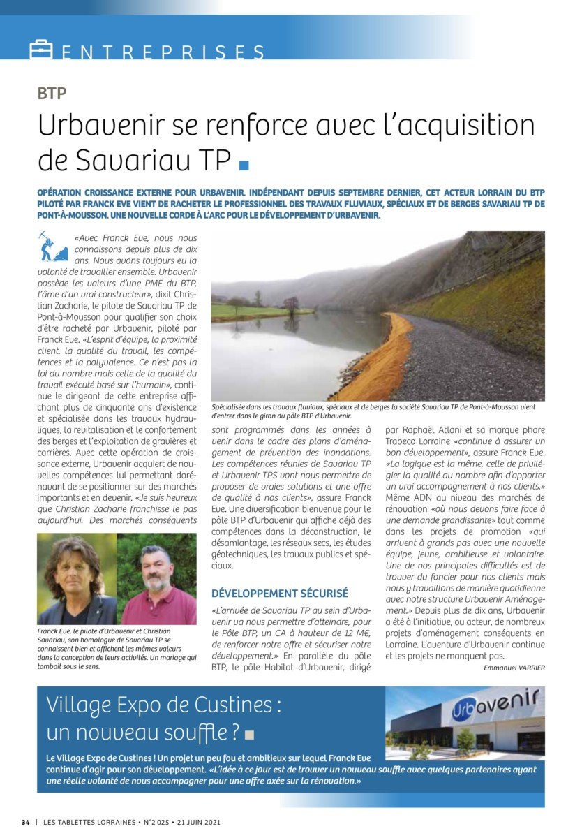 Urbavenir 2025_34 Urbavenir acquiert Savariau TP actualites Urbavenir TP